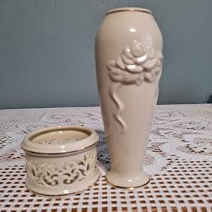 Lenox bud vase and votive candleholder